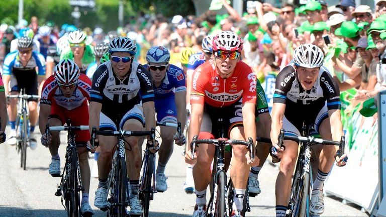 Nikias Arndt, right, edged out Kris Boeckmans, second right, in a photo finish on stage three