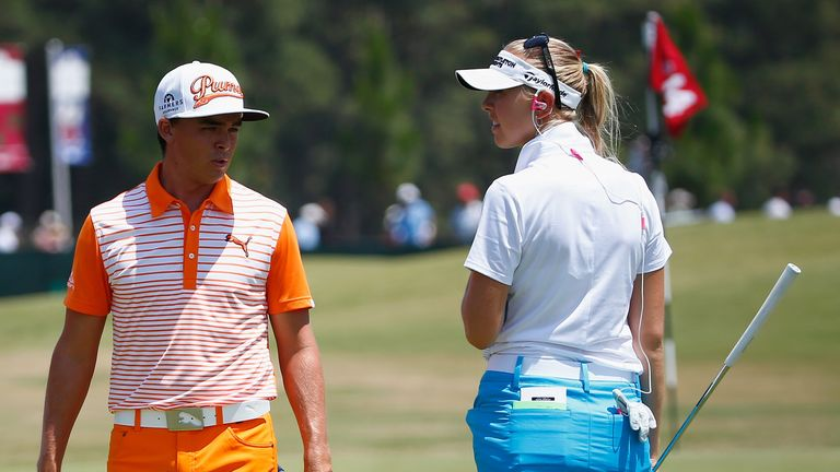 Last week the men, this week the women. Jessica Korda with Rickie Fowler on the practice ground last Sunday.