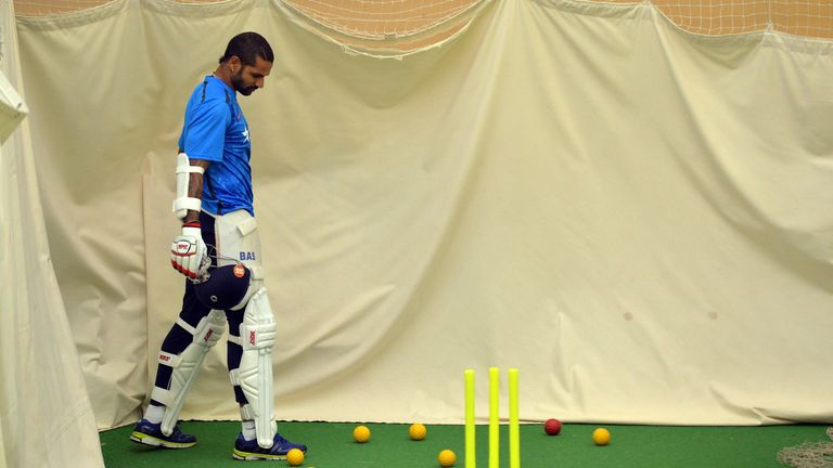 Shikhar Dhawan: India restricted to net practice on day two
