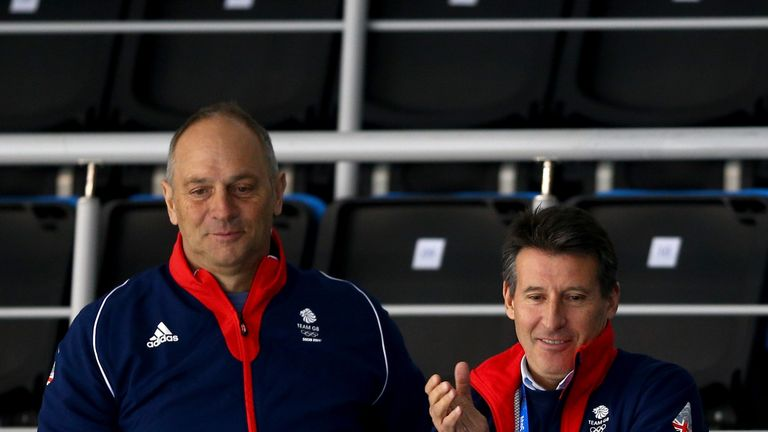 Sir Steve Redgrave celebrate after Team Great Britain wi a medal in Sochi