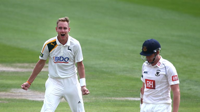 Stuart Broad celebrates the wicket of Luke Wells