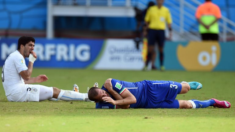 Uruguay's forward Luis Suarez following the incident with Italy defender Giorgio Chiellini