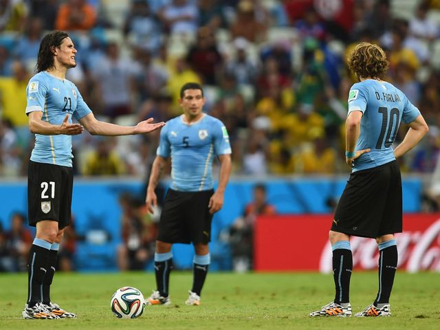 Uruguay show their frustration during defeat