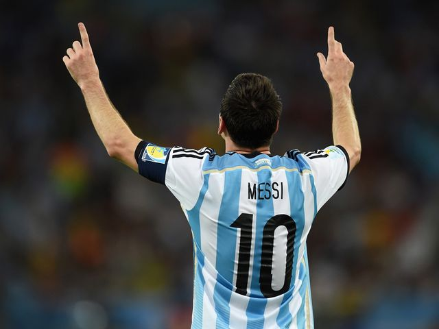 Argentina star Lionel Messi enjoys his goal