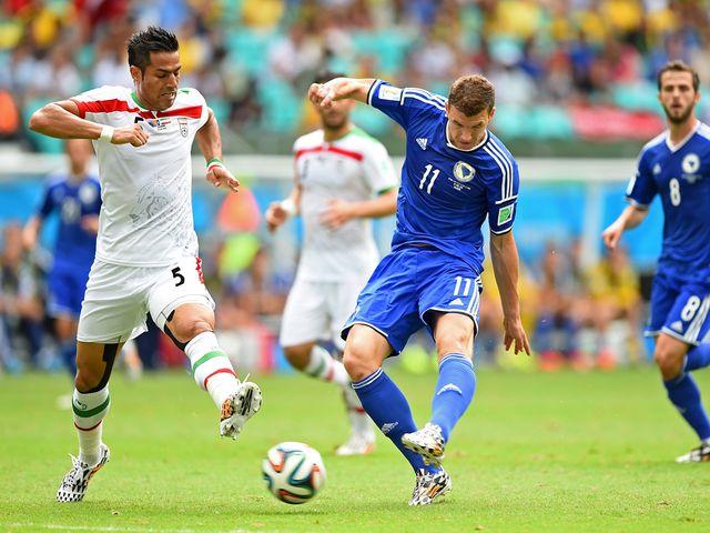 Edin Dzeko fired a left-foot shot in off the post