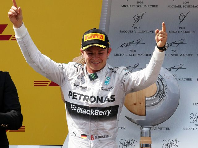 Nico Rosberg celebrates his victory at the Austrian Grand Prix