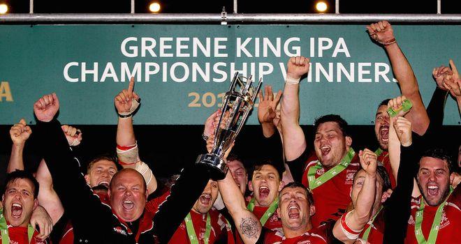 London Welsh celebrate winning promotion to the Premiership