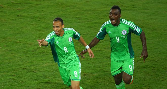 Peter Odemwingie celebrates his goal for Nigeria against Bosnia