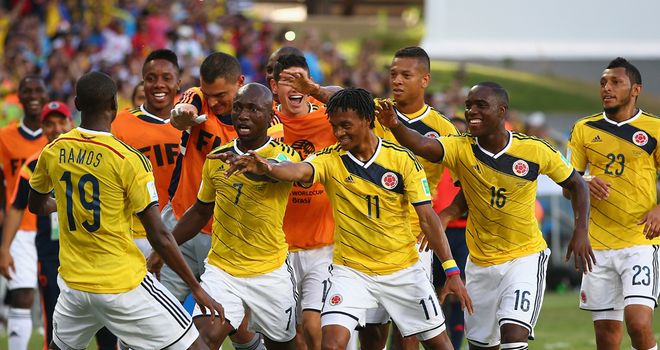 Colombia celebrate their first-half opener