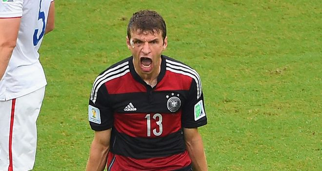 Thomas Muller: Celebrates breaking the deadlock