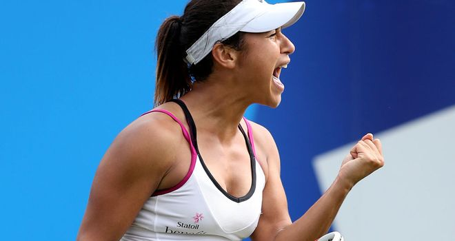 Heather Watson celebrates the moment of victory against No 6 seed Flavia Pennetta