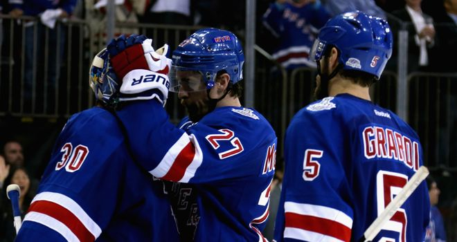 Henrik Lundqvist, Ryan McDonagh and Dan Girardi  celebrate