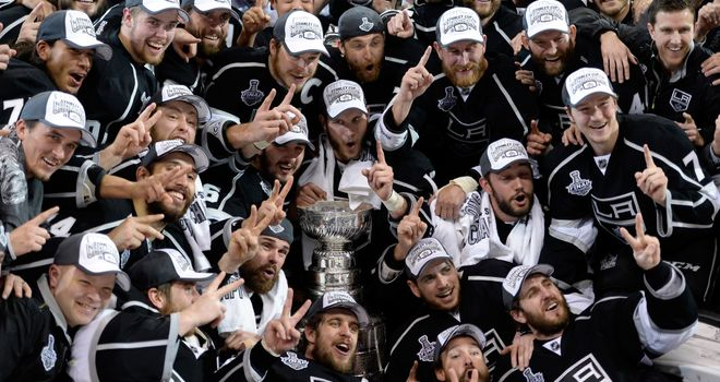 The Los Angeles Kings celebrate after winning the Stanley Cup against the New York Rangers