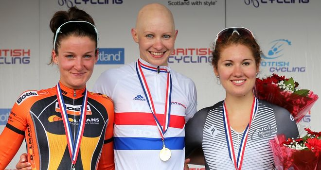 Joanna Rowsell beat Lizzie Armitstead, left, and Katie Colclough, right, to win the British time trial title last year