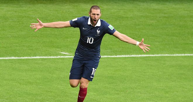 Karim Benzema: Celebrates goal in 3-0 win over Honduras