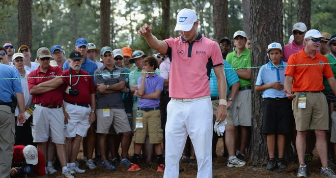 Martin Kaymer: takes a drop on the fourth hole during an eventful third round at Pinehurst No.2