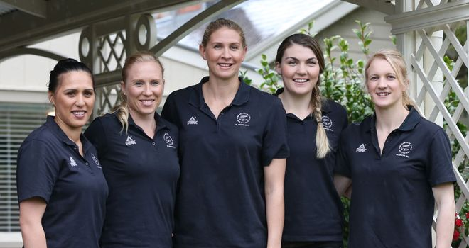 New Zealand Netball team: Liana Leota, Laura Langman, captain Casey Kopua, Ellen Halpenny and Shannon Francois
