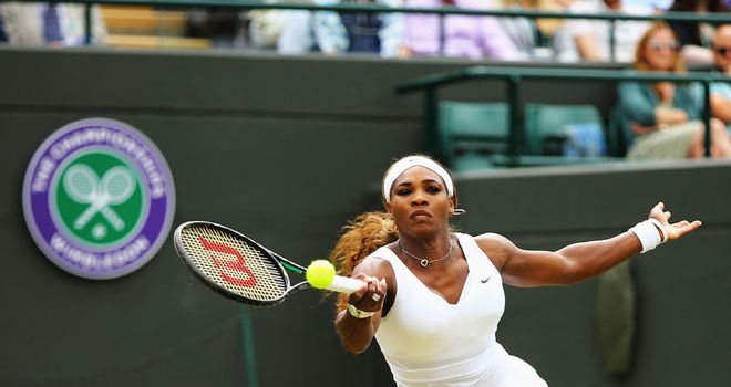 Serena Williams in action during her Ladies' Singles second round match at Wimbledon