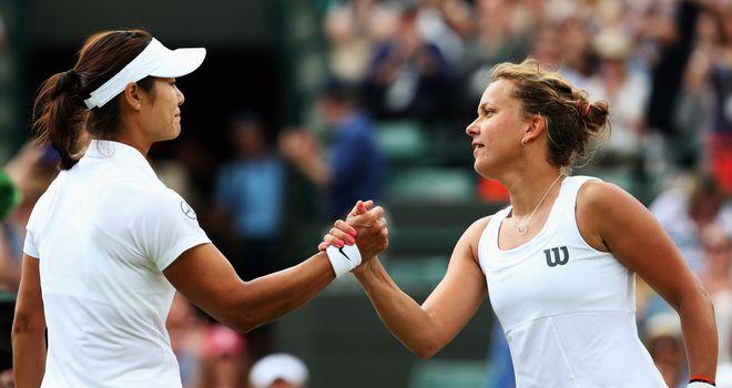 Handshake: Li Na and Barbora Zahlavova Strycova