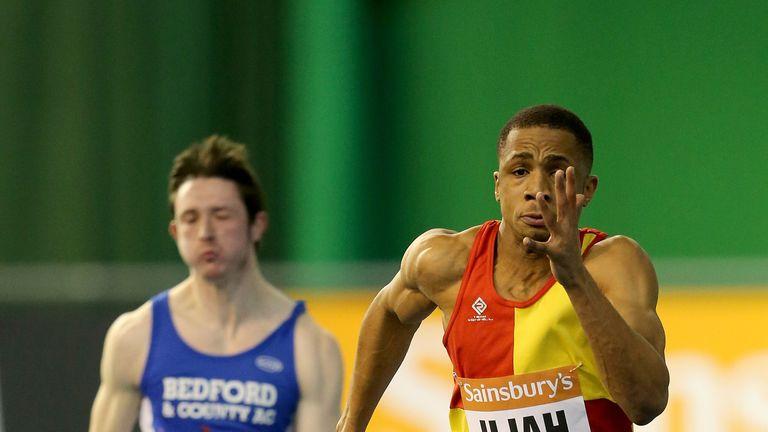 Chijindu Ujah of Winfield & Haringey in action in the mans 60 meters heats at the Sainsbury's British Athletics Indoor Ch