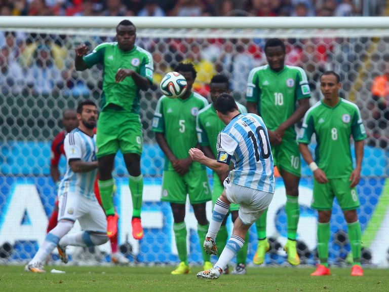Lionel Messi scores this fantastic free-kick against Nigeria