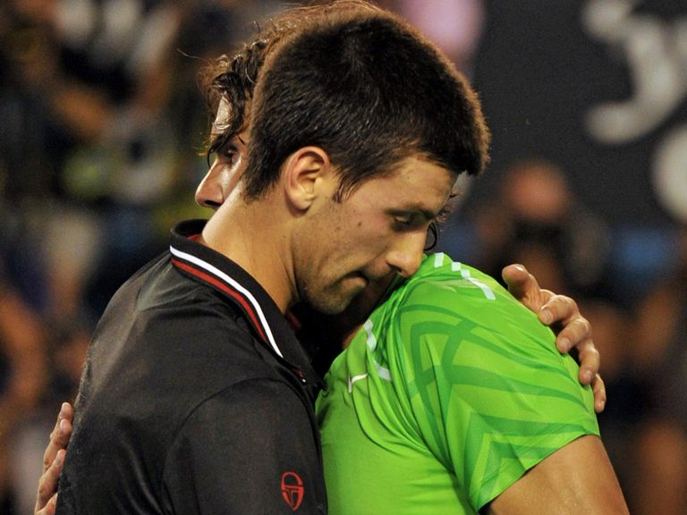 Djokovic and Nadal embrace after their 2012 Australian Open classic