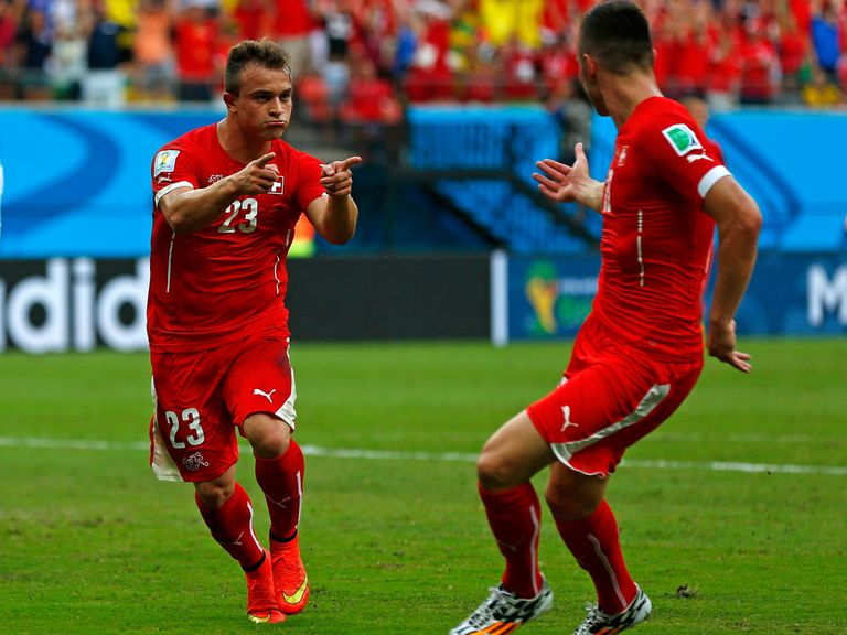 Xherdan Shaqiri's hat-trick helped Switzerland progress