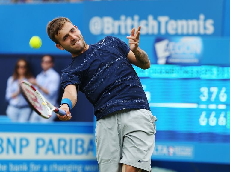 Dan Evans reacts following his victory over Jurgen Melzer