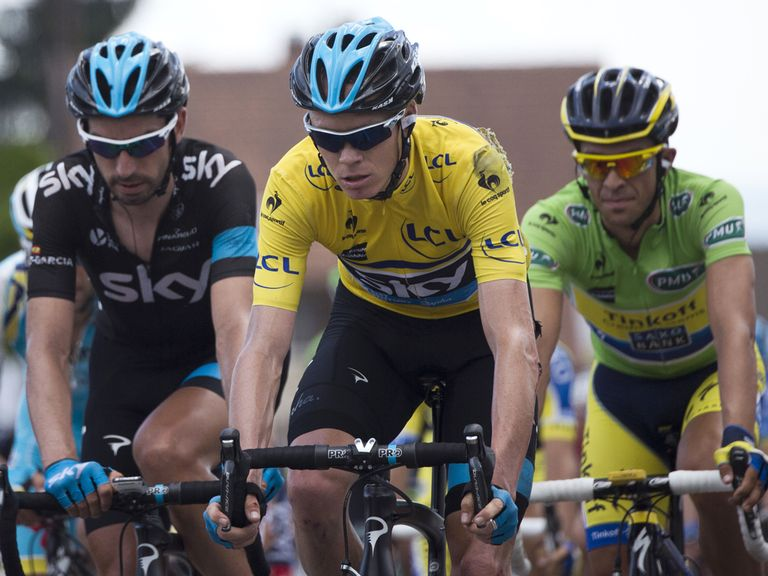 Alberto Contador (right) took the lead from Chris Froome (centre)