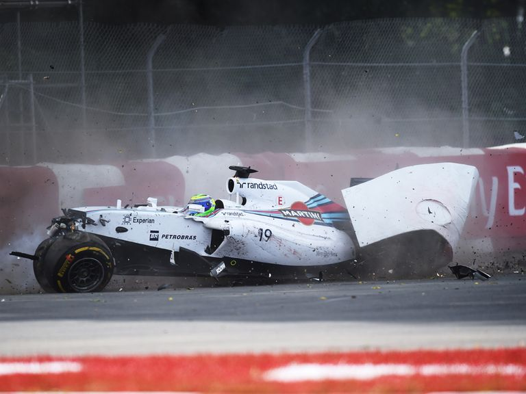 The smashed Williams of Felipe Massa on the final lap