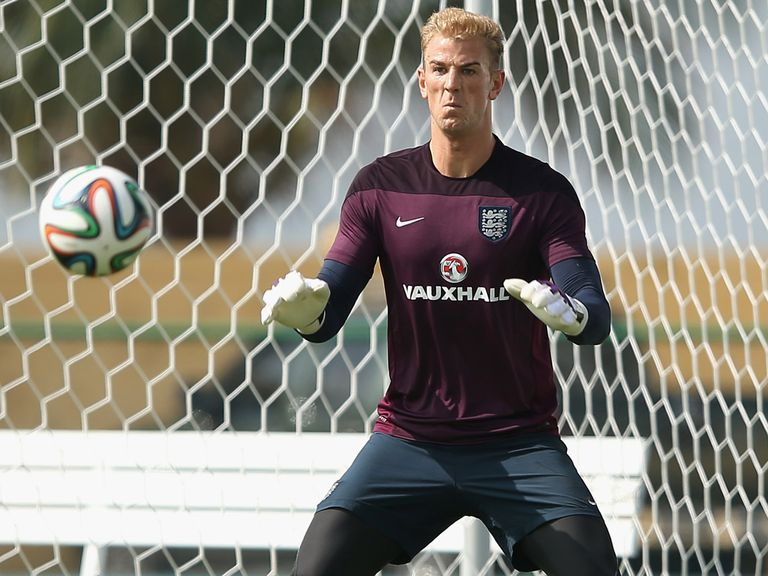 Joe Hart in action during the England training session at the Urca Military Base