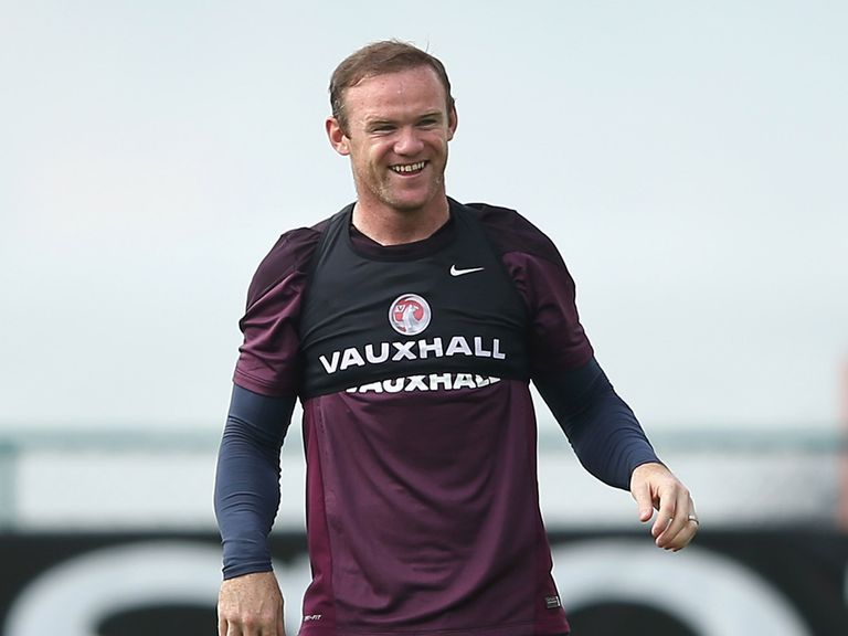 Wayne Rooney in an England training session in Brazil