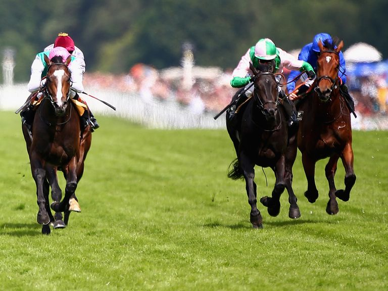Scotland (right, pink and green silks): Can enhance his St Leger claims