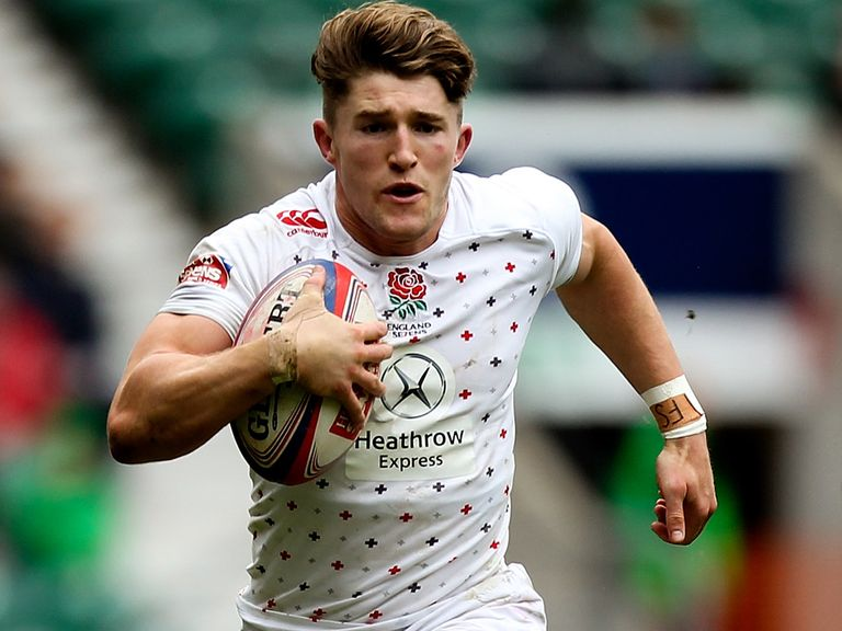 Phil Burgess of England in action during the Marriot London Sevens