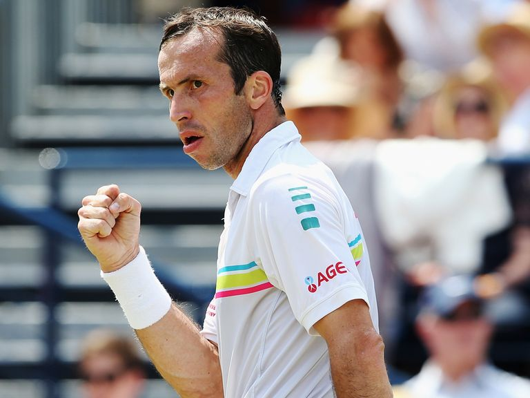 Radek Stepanek celebrates against Kevin Anderson