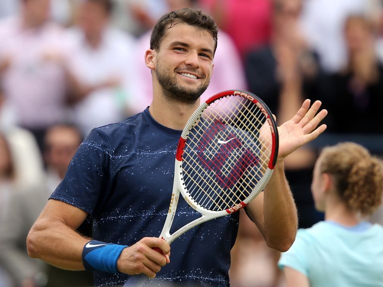 Grigor Dimitrov celebrates reaching the final at The Queen's Club