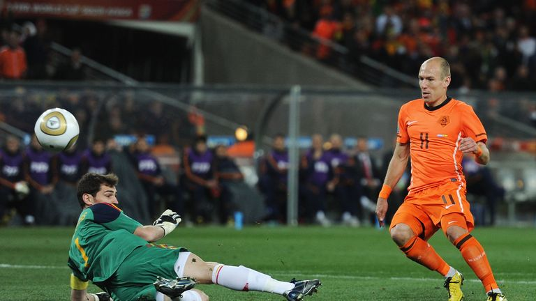 Arjen Robben was denied by Iker Casillas during the 2010 World Cup final in South Africa