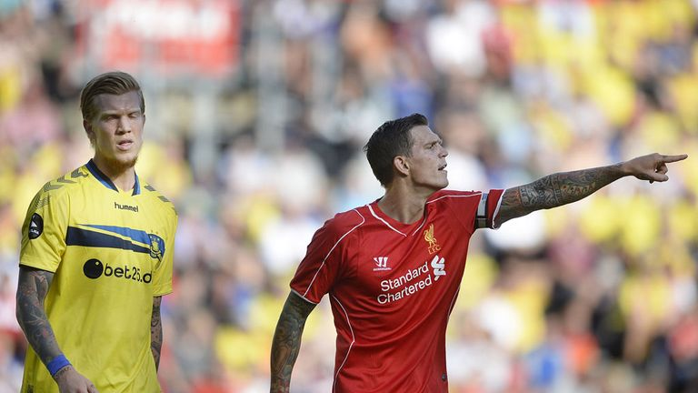 Liverpool defender Daniel Agger suffered defeat as he returned to former club Brondby