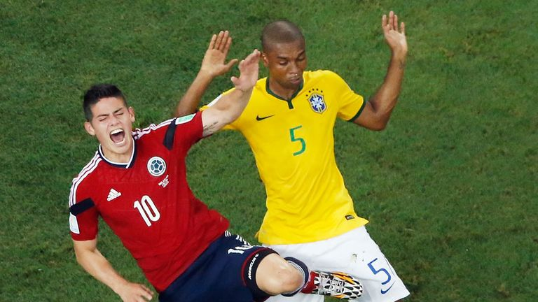 James Rodriguez was on the receiving end of some close attention from Fernandinho