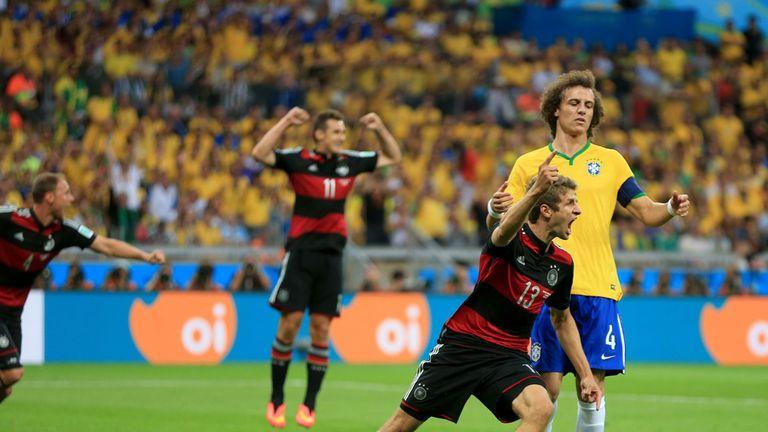 Thomas Muller: Celebrates his goal against Brazil