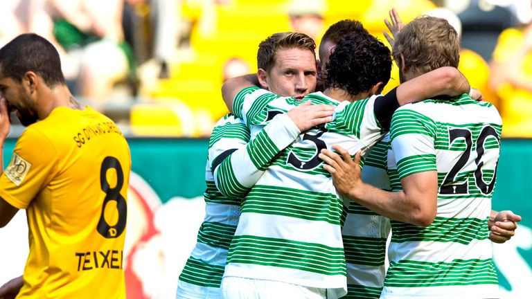 Kris Commons: Celebrates Celtic's opener