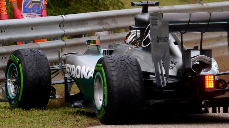 Hamilton damaged his front-wing in his lap-one spin
