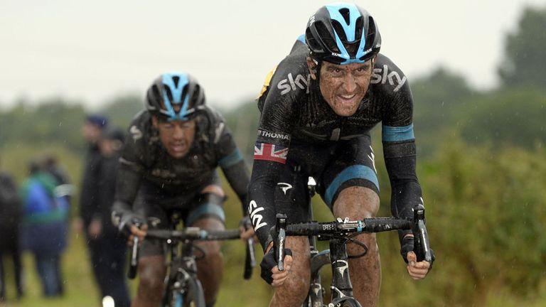 Geraint Thomas, right, shepherds Richie Porte through stage five of the Tour de France