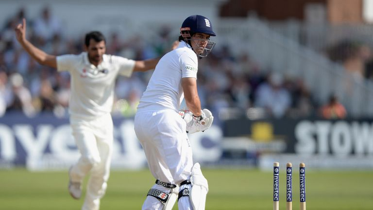 Alastair Cook is bowled at Trent Bridge