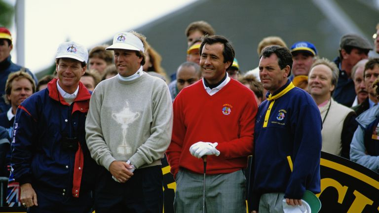 Bernard with Seve, Tom Watson and Jim Gallagher Jr at the 1993 Ryder Cup