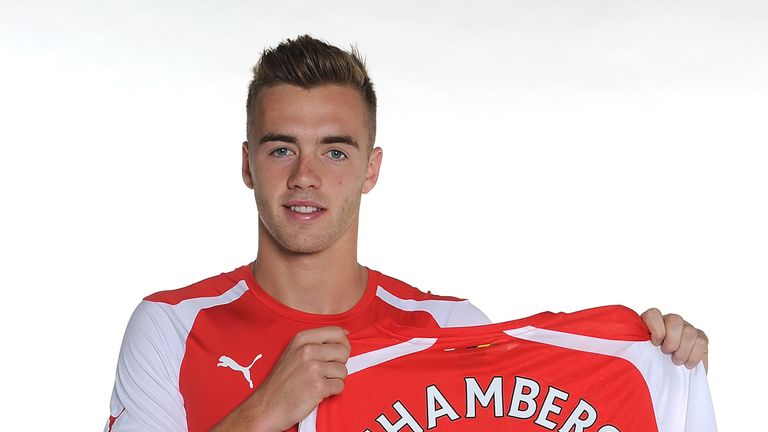 Calum Chambers: Shows off his new Arsenal shirt