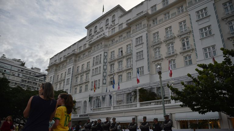Security outside the Copacabana Palace Hotel
