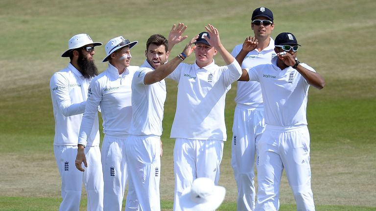 England's James Anderson celebrates with his tream mates during day five of the Third Test