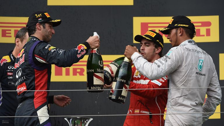 Daniel Ricciardo, Fernando Alonso and Lewis Hamilton on the podium