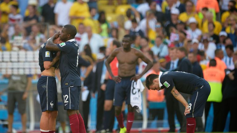 Mathieu Debuchy and Rio Mavuba: Down and out after defeat to Germany